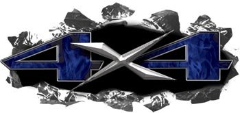 Ripped / Torn Metal 4x4 Decals Inferno Blue Flames