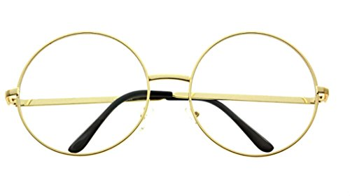 WebDeals - Extra Large Round Circle Frame Clear Lens Fashion Glasses (Gold Frame, - Large Fashion Glasses