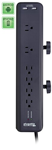 Plugable 6 AC Outlet Surge Protector with Clamp Mo...