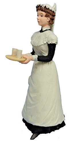 Melody Jane Dollhouse People Victorian Maid with Drinks on Tray Resin Figure