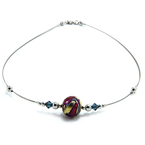 Woman's necklace in 925 silver rhodium plated, Murano glass enhanced by 24Kt yellow gold leaf (made in Florence) and Swarovski crystals. CFR046/Y03