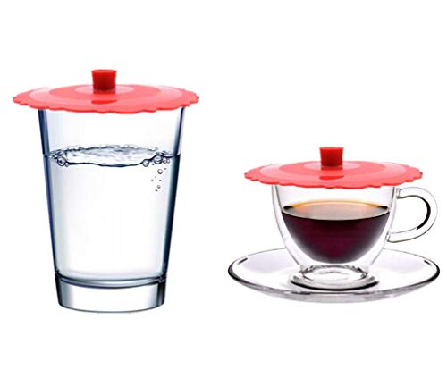 New Wolecok Set of 2 Round Silicone Mug Coffee Cup Cap, Seal Air Tight Drink Cup Lid, Tea Glass Cup Cover, Spill Proof Suction Lid Tumblers (red) ()