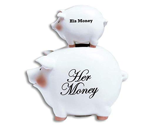 Funny Wedding - Bridal Shower Gift His/Her Ceramic Piggy Bank 8 Inch with Token Coin for Good Luck