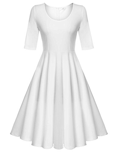 ELESOL Vintage Women Long Sleeves Party Tea Dress Plus Size,White/XXL