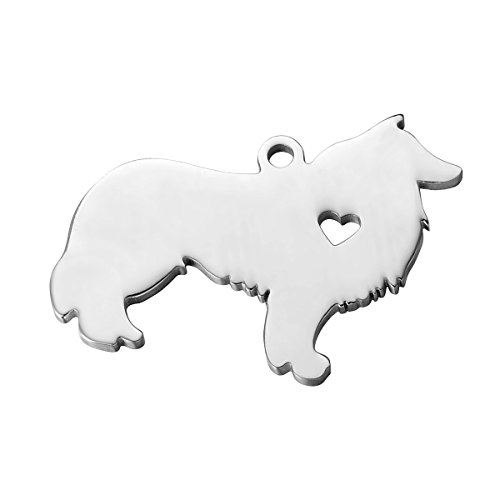 HooAMI Stainless Steel Dog Collie Charm Pendant,Silver Tone