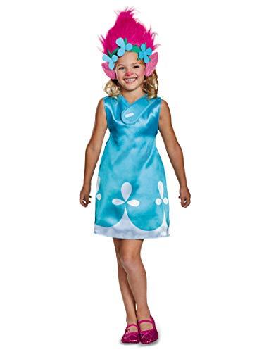 Kid Troll Halloween Costume (Poppy Classic W/Headband Trolls Costume, Blue, Small)
