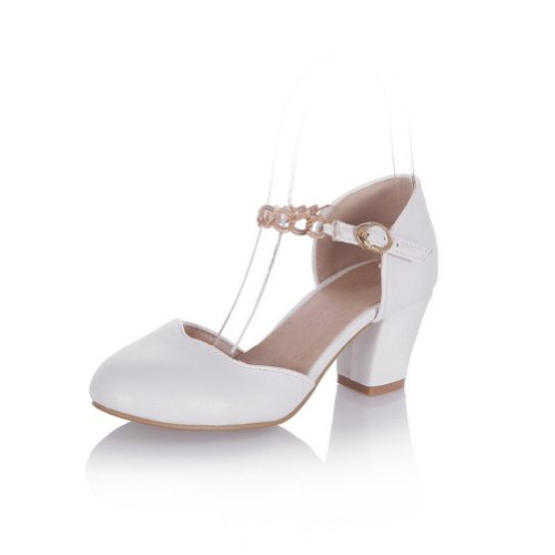 Solidi Round Womens Morbido Heel Bianco Metallo Materiale Con Toe Voguezone009 Closed Pu Kitten Sandali qSBEv