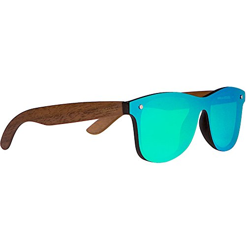 WOODIES Walnut Wood Sunglasses with Flat Green Mirror Polarized Lens ()