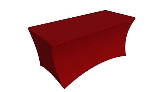 SY66 Tablecloth Cover, 6 ft white,Table Cloth Skirts, Rectangular, Polyester/Spandex, Elastic, Stretchable Linen, Stain & Wrinkle Proof, for Folding Tables, Wedding, DJ, Events (Red) (White Wedding And Cloth Table Red)