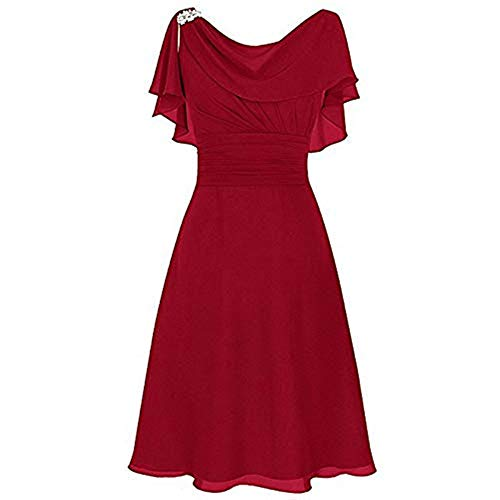 Aniywn Women Formal Wedding Bridesmaid Dress Plus Size High-Waist Party Ball Prom Gown Cocktail Dress Red