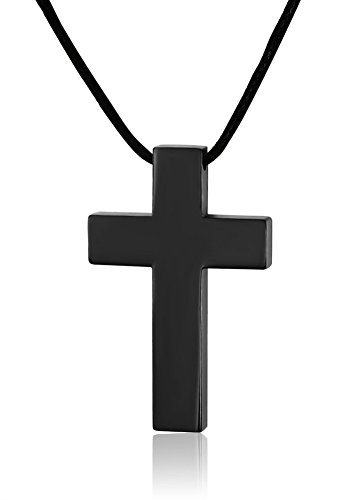 Mealguet Jewelry Stainless Steel Simple Thick Polished Cross Pendant Necklace with Black Leather Cord, Black Plated