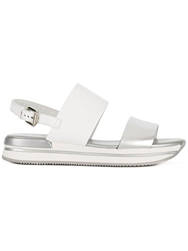 Sandals Hogan White Leather Women's HXW2570AI30IYO0906 Silver rOOFxXaw
