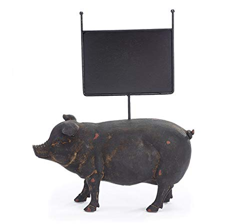 Rustic Pig - Distressed Black Resin Pig with Message Board, 14 Inches