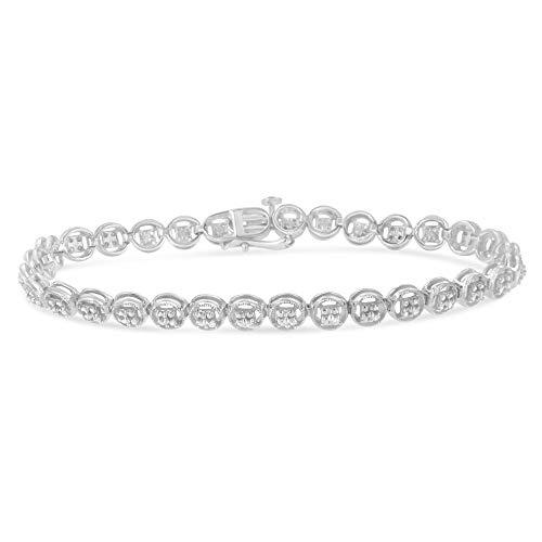 Sterling Silver Diamond Circle Link Bracelet (0.10 cttw, I-J Color, I2-I3 Clarity)