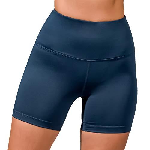 Velocity High Waist Athletic Yoga Shorts - Bali Blue - Large (Lounge Velocity)
