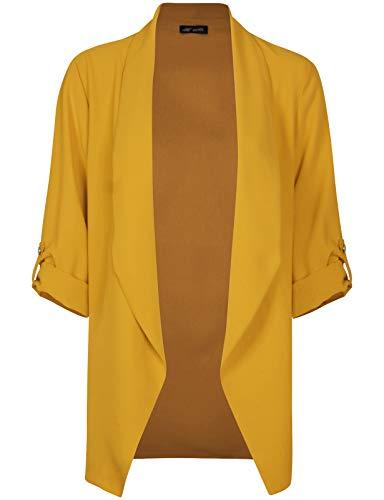 Michel Womens Open Front Blazer Casual 3/4 Roll UP Sleeve Cardigan Blazer Mustard Small