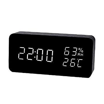 Asvert Réveil LED en Bois avec Calendrier Temperature Horloge Digitale  Multifonctions Moderne Cube pour Maison Bureau, Noir