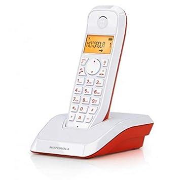 Motorola 4400023796 - Teléfono inalámbrico (Agenda para 50 contactos, Pantalla LCD) Color Rojo