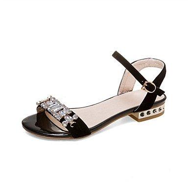 YFF Sandales femmes robe extérieure en simili cuir Talon bas occasionnels,Black,US8.5 / EU39 / UK6.5 / CN40