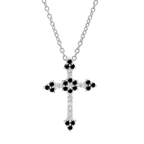 Dazzlingrock Collection 0.40 Carat (ctw) 18K Round Black & White Diamond Ladies Floral Cross Pendant, White Gold ()