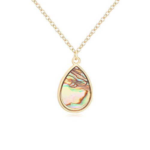 (PANGRUI Simple Nature Abalone Paua Shell Teardrop Pendant Necklace)