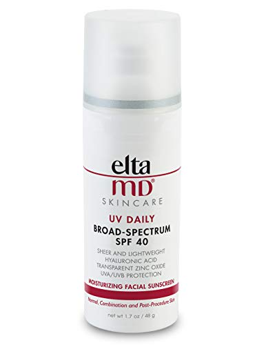 EltaMD UV Daily Facial Sunscreen Broad-Spectrum SPF 40 for Normal and Combination Skin, Dermatologist-Recommended Mineral-Based Zinc Oxide Formula, 1. 7 Oz