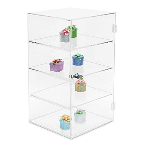 MOOCA Acrylic Lockable Showcase Display Stand with 3 Removable Shelves ()
