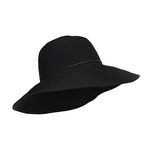 (Packable Black Ribbon Crusher Sun Hat, 4 in. Wide Shapeable Brim, UPF 50+ Protection, One Size)