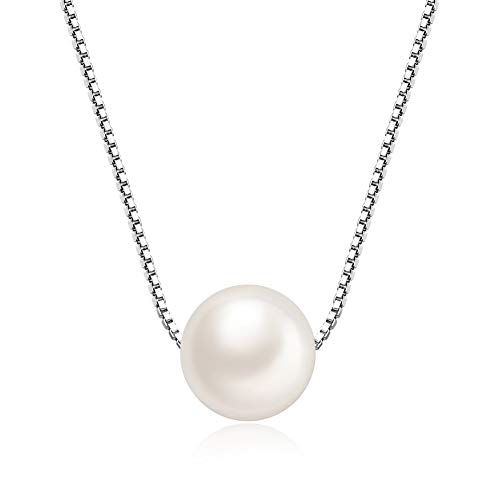 MABELLA Freshwater Cultured 8MM AAA+ White Single Pearl Pendant Necklace 925 Sterling Silver Jewelry for Women 18 inch