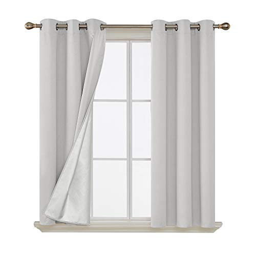 Deconovo Thermal Insulated Window Blackout Curtains Grommet Top Energy Saving Drapes with Silver Back Coating for Bedroom Greyish White 42 by 45 Inch 2 Panels