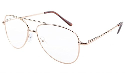 - Eyekepper Pilot Style Metal Frame Spring Hinges Reading Glasses Gold +1.0