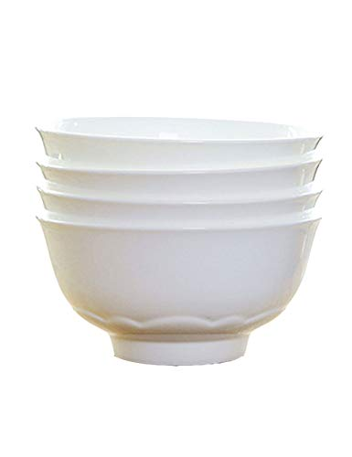 Jia He Japanese bowl 4.5 Inch / 6 Inch Creative Home Pure White Bone China Bowl Set 4 Rice Bowl Sugar Bowl @@ (Size : 6