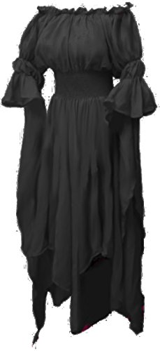 Black Gown Costume (Sorceress By The Tree Costume Gown Chemise ,One Size,Black)