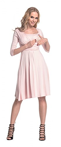 Happy Mama. Para Mujer Vestido Skater premamá y de lactancia. 526p Polvo de Color Rosa