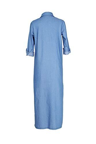 Longue Devant Denim Trench Veste Cardigan Yulinge Ouvert Fente Bleu Femmes YwnxRpY7gC
