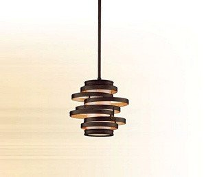 Lighting Bronze Corbett (Corbett 28574338 Corbett One Light Bronze/Gold Leaf Down Pendant - 782042751019)