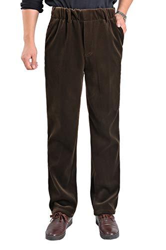 Elastic Waist Corduroy Pants - Gihuo Men's Corduroy Dress Pants Fleece Lined Elastic Waist Pull-on Pant (Coffee, Large)