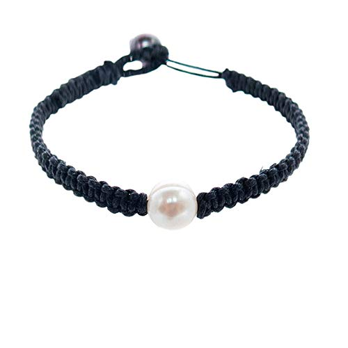 FROG SAC Harmony Freshwater Cultured Pearl Braided Bracelet - Genuine Black and White Cultured Pearls - Great Gifts for Valentine's, Anniversary, Birthday - Bridesmaids Party Favors (Black)