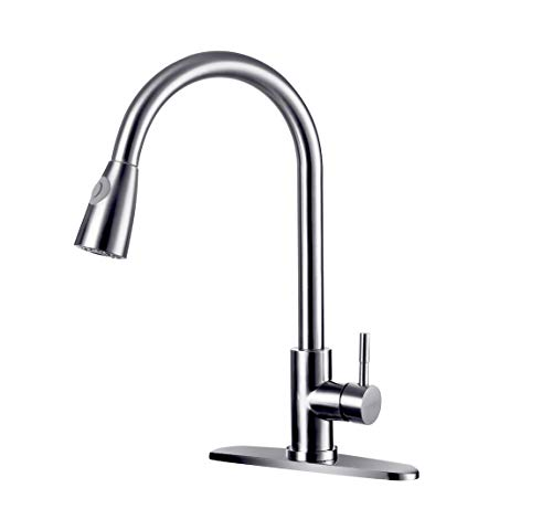 Faucet Kitchen Single Lever America (WONDERLAND AMERICA Single Handle High Arc Pull out Brushed Nickel Kitchen Faucet, Single Level 304 Stainless Steel Kitchen Sink Faucets with Pull down Sprayer and deck plate for 1 or 3 holes)