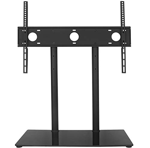WALI Universal Table Top TV Stand with Glass Base and Security Wire Fits Most 32-60 inch LED, LCD, OLED and Plasma Flat Screen with VESA Pattern up to 600x400 (TVDVD-2), Black