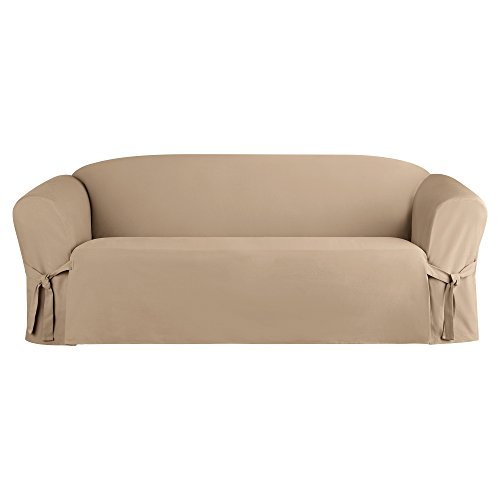 Sure Fit Heavyweight Cotton Duck One Piece Slipcover (Khaki, Box Cushion Sofa)