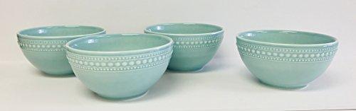 et of 4 Soup | Salad | Dessert Bowls | Large And Small Dots Decorate The Rim | 6.5 inches x 3.5 inches (Aqua Blue) (Aqua Salad Bowl)