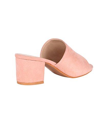 KRISP Zapatos Verano Mujer Tacón Medio Ancho Plataforma Tacones Sandalias Fiesta Rosa