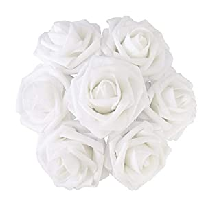 VI AI 25 Pcs Artificial Flowers Real Touch Artificial Roses for DIY Wedding Bridal Bridesmaids Bouquets Floral Baby Shower Centerpiece Corsage Cake Flower Birthday Party Home Decoration (White) 15