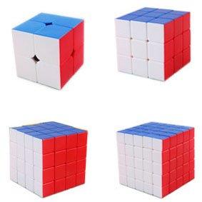 I-xun New Updated Speed Magic Cube Pack, 2x2x2,3x3x3,4x4x4,5x5x5, 4 Pack Stickerless Puzzle Cubes
