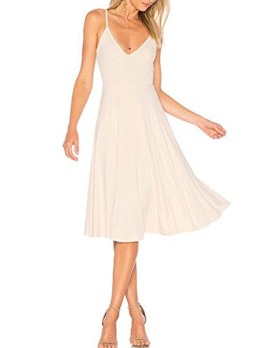 May&Maya Women's Adjustable Shoulder Straps V-neck and Deep V Back Midi Tank Dress (White, M)
