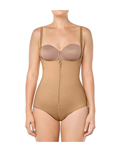 Leonisa Women's Braless Contouring Body Shaper with Tummy Control in Classic Panty Firm Compression Beige