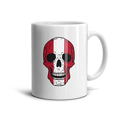 Horace Browne Coffee Mug - Skull Peru Flag Motivational Mug Fun Mugs Funny Gift