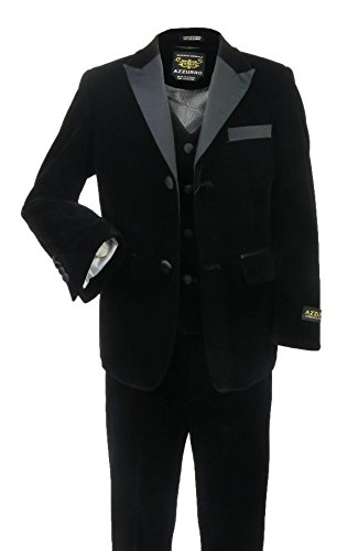 Azzurro Little Boys Formal 3-Piece Velvet Satin Suit - Slim Fit Black 5