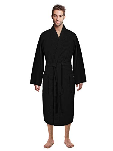 Mens Black Robe (Premium Turkish Cotton Waffle Weave Lightweight Kimono Spa Bathrobe for Men (Black,)